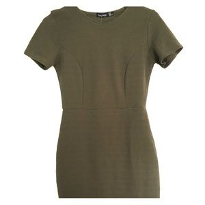 Boohoo stretch dress olive green